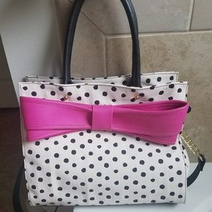 Betsy Johnson White Polka Dot Crossbody Bag